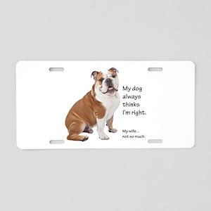 Bulldog v Wife Aluminum License Plate