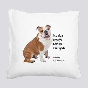 Bulldog v Wife Square Canvas Pillow
