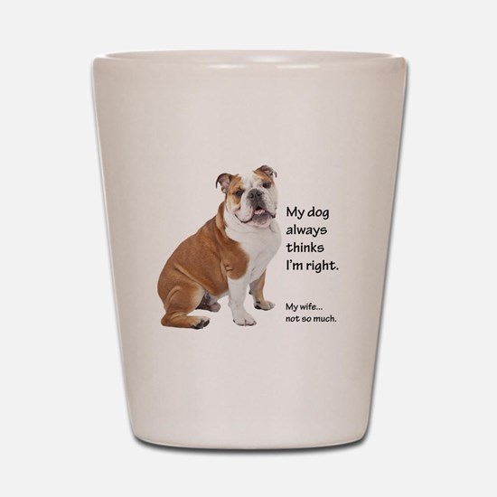 Bulldog v Wife Shot Glass