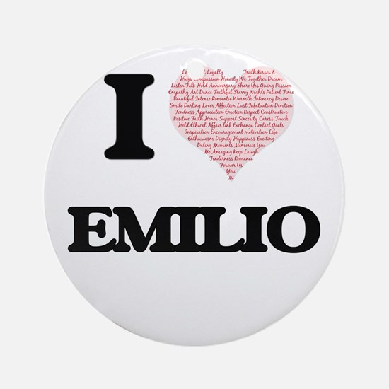 I Love Emilio (Heart Made from Love Round Ornament