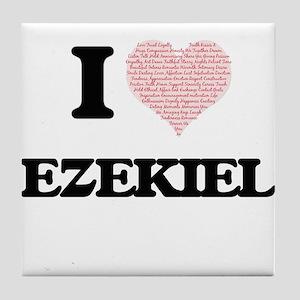 I Love Ezekiel (Heart Made from Love Tile Coaster