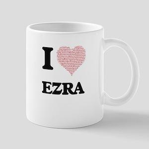 I Love Ezra (Heart Made from Love words) Mugs