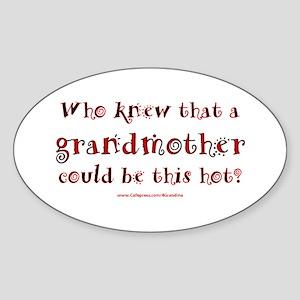 Hot Grandmother Oval Sticker