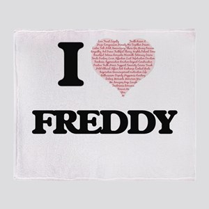 I Love Freddy (Heart Made from Love Throw Blanket