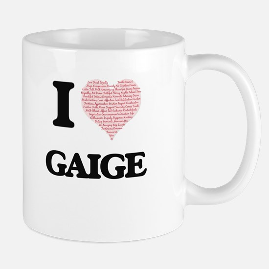 I Love Gaige (Heart Made from Love words) Mugs