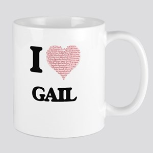 I Love Gail (Heart Made from Love words) Mugs