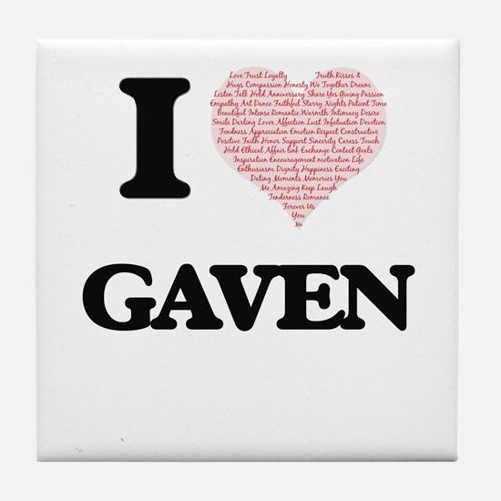 I Love Gaven (Heart Made from Love wo Tile Coaster
