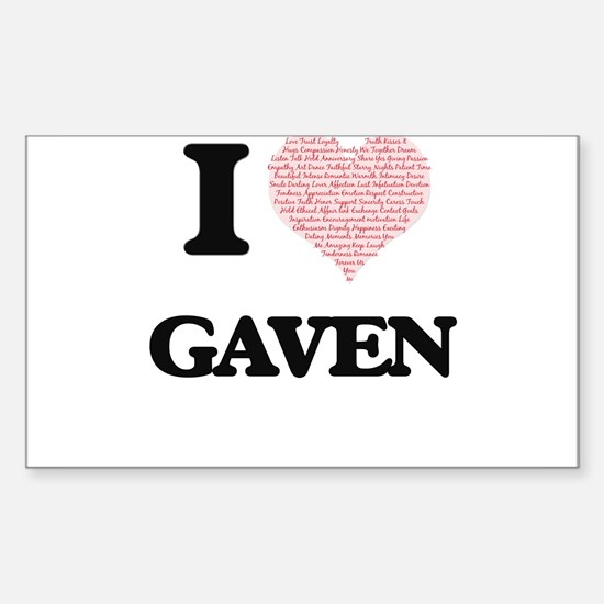 I Love Gaven (Heart Made from Love words) Decal
