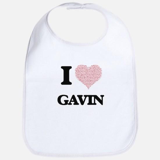 I Love Gavin (Heart Made from Love words) Bib