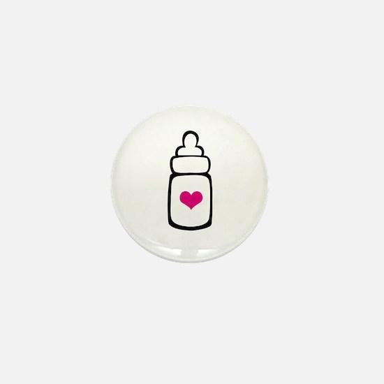Milk bottle with heart Mini Button