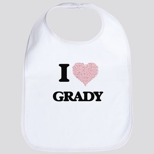 I Love Grady (Heart Made from Love words) Bib