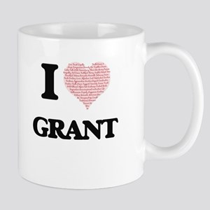I Love Grant (Heart Made from Love words) Mugs