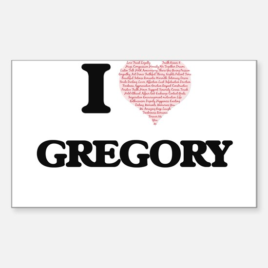 I Love Gregory (Heart Made from Love words Decal
