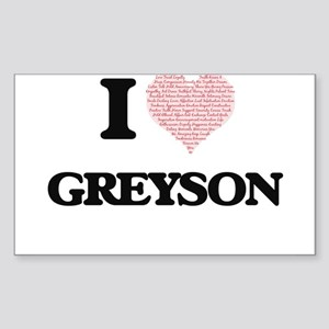 I Love Greyson (Heart Made from Love words Sticker