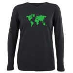 World Map Plus Size Long Sleeve Tee