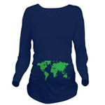 World Map Long Sleeve Maternity T-Shirt