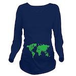 World Map Long Sleeve Maternity T-Shirt