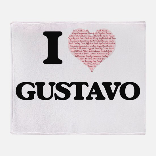 I Love Gustavo (Heart Made from Love Throw Blanket