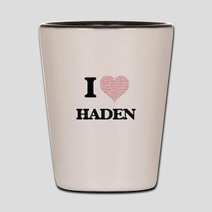 I Love Haden (Heart Made from Love word Shot Glass
