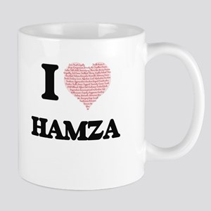 I Love Hamza (Heart Made from Love words) Mugs