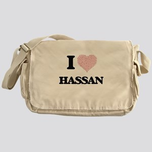 I Love Hassan (Heart Made from Love Messenger Bag