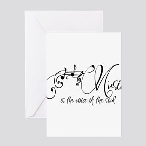 Music is the voice of the soul Greeting Cards