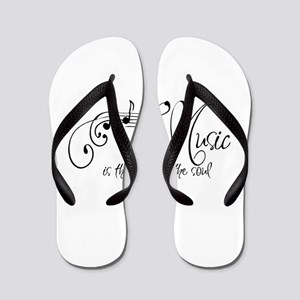 Music is the voice of the soul Flip Flops