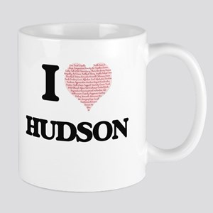 I Love Hudson (Heart Made from Love words) Mugs