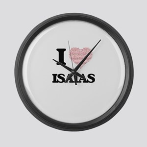 I Love Isaias (Heart Made from Lo Large Wall Clock