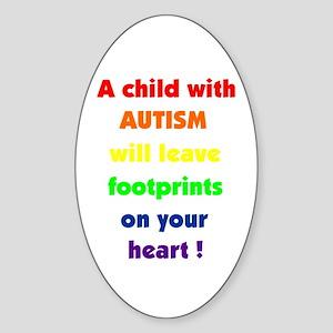Footprints text Oval Sticker