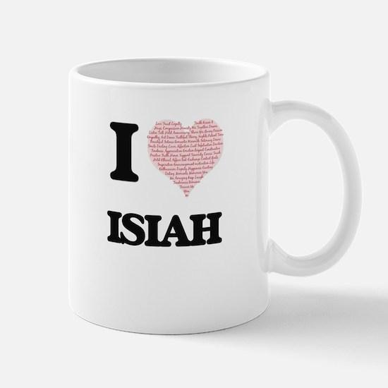 I Love Isiah (Heart Made from Love words) Mugs