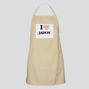 I Love Jadon (Heart Made from Love words) Apron