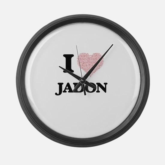 I Love Jadon (Heart Made from Lov Large Wall Clock