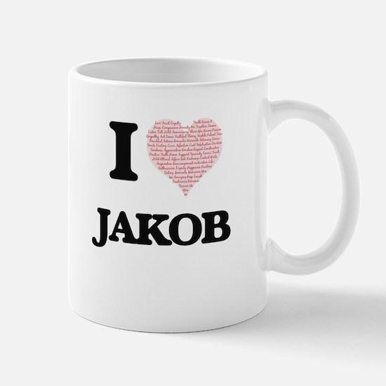 I Love Jakob (Heart Made from Love words) Mugs