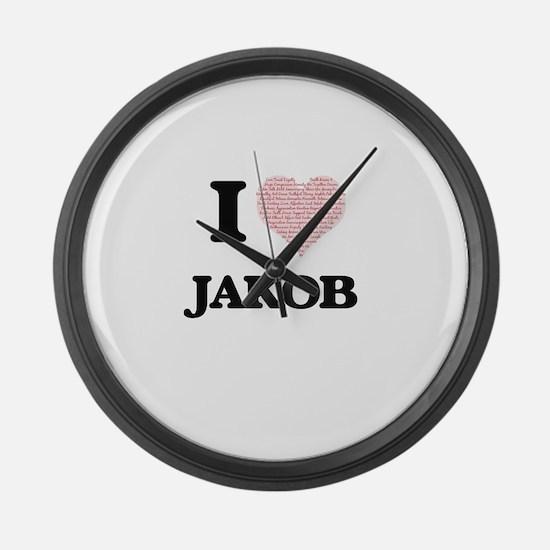 I Love Jakob (Heart Made from Lov Large Wall Clock