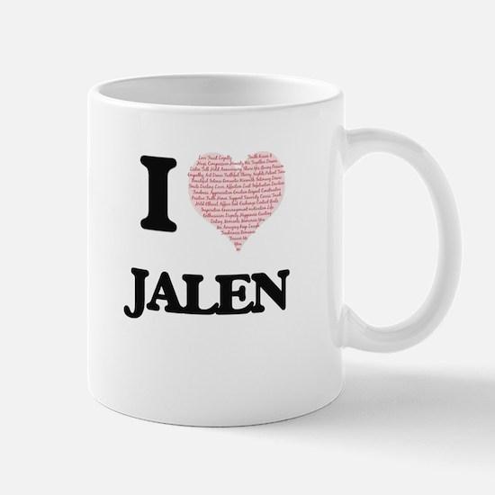 I Love Jalen (Heart Made from Love words) Mugs