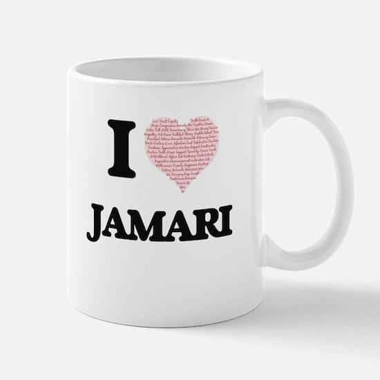 I Love Jamari (Heart Made from Love words) Mugs