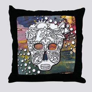 Sugar Skulls Color Splash Designs #WI Throw Pillow