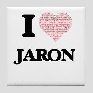 I Love Jaron (Heart Made from Love wo Tile Coaster
