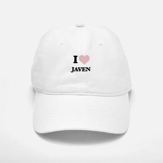 I Love Javen (Heart Made from Love words) Baseball Baseball Cap