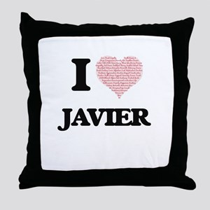 I Love Javier (Heart Made from Love w Throw Pillow