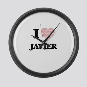 I Love Javier (Heart Made from Lo Large Wall Clock