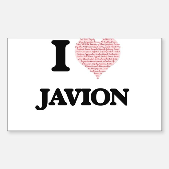 I Love Javion (Heart Made from Love words) Decal