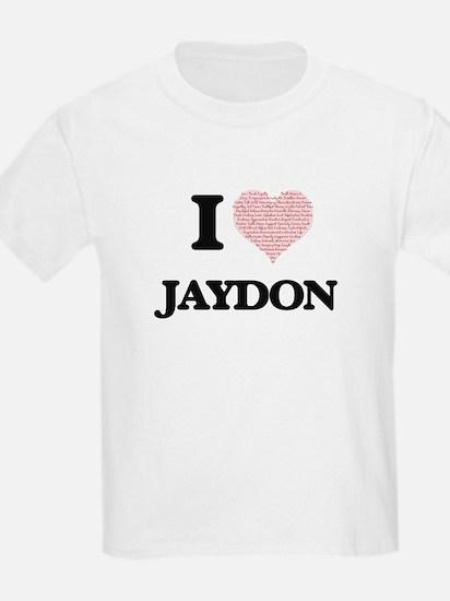 I Love Jaydon (Heart Made from Love words) T-Shirt