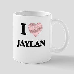 I Love Jaylan (Heart Made from Love words) Mugs