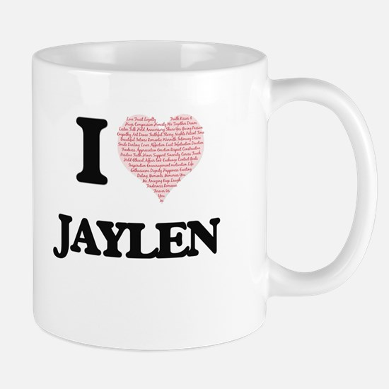 I Love Jaylen (Heart Made from Love words) Mugs