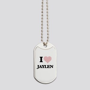 I Love Jaylen (Heart Made from Love words Dog Tags