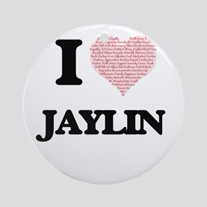I Love Jaylin (Heart Made from Love Round Ornament