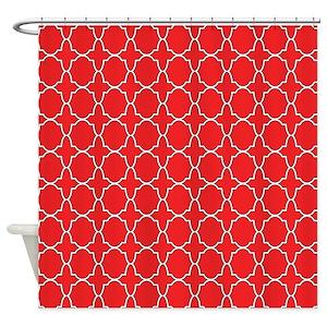 Red Quatrefoil Shower Curtains