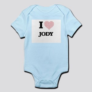 I Love Jody (Heart Made from Love words) Body Suit